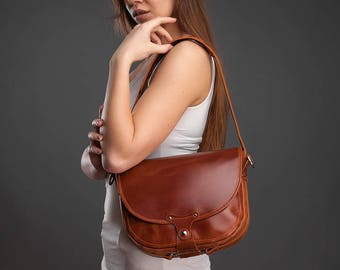 Leather bag leather woman bag leather handbag leather saddle bag shoulder bag leather purse brown leather bag leather crossbody small bag