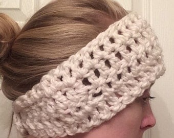Crochet Earwarmer Headband--Soft, Homemade, and Hand Crocheted with Vintage Button Closure,Cream; Winter Accessory