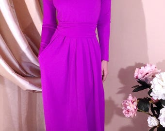 Dark Lilac Maxi Dress V Neck Long Sleeves Pockets