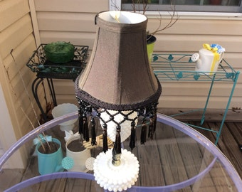 Vintage Chocolate Brown Silk Covered Chandelier Lamp Shade with Beads and Tassels , Shabby Chic Trim, Bell Shaped Shade, Boho Style