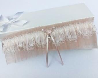 Blush pink tulle wedding garter, blush pink wedding garter, ivory lace wedding garter, rhinestone bridal garter, eyelash lace garter
