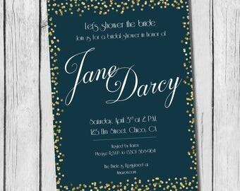 PRINTABLE Teal and Gold Bridal Shower Invitation