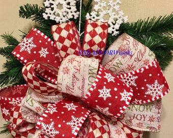 Snowman Tree Topper Bow, Snowflakes Tree Bow, Country Christmas Tree Topper Bow, Whimsical Snowflakes Tree Decor, Red White Bow, Vintage Bow