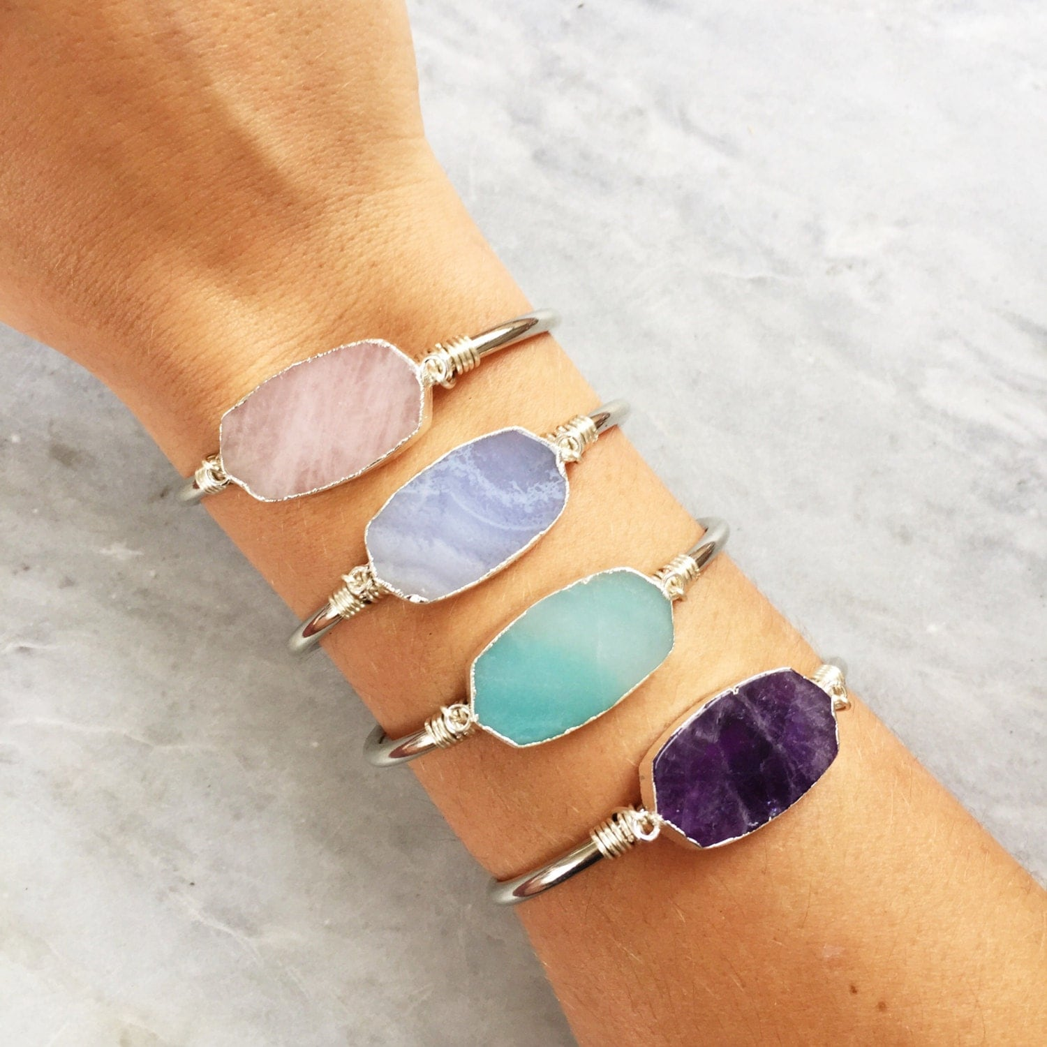 THE PASTELS - Natural Gemstone Cuff Bracelets - Silver | Adjustable Cuff | Raw Stone |