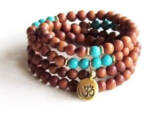 Sandalwood Mala - Wrap Bracelet Turquoise and Sandalwood Mala Yoga Necklace Meditation Necklace Healing Necklace Stress Relief Gift