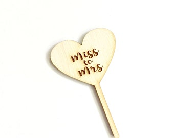 Bridal Shower cupcake toppers Miss to Mrs (10 pieces)