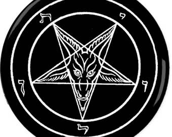 Baphomet Pin-Back Button 6 Sizes Death Metal Punk Satan Satanic Black Magic