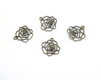 Charms - Bronze Charms - Beautiful Bronze Open Rose Charm - Pendants - 10 Rose Charms For Jewelry - Great Purse Charms, Key Rings - CH-B006