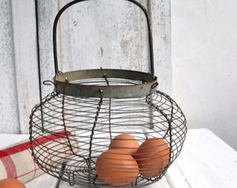 Antique French Wire Vegetable Egg Salad Storage Basket Fil de Fer
