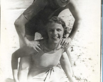 Vintage 1950s Black and White Photograph - Beach Sisters