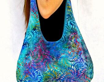 Hobo Bag Purse,  Fabric Tote Bag, Over The Shoulder Batik Bag, Beach Bag, Hippie Bag.