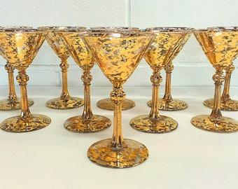 Gold Splatter Martini Glasses Gold Speckled Cocktail Glasses Gold Flecked Glasses SET OF 10 Hollywood Regency Mid Century Modern Barware