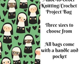 Knitting Project Bag, Nuns in Mint, Sock Knitting, Zippered Bag, Crochet Bag, Sweater Project Bag, Large Bag