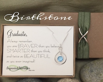 GRADUATE Graduation Gifts for Her - Sterling Silver Birthstone Necklace - High School Graduation Gift Class of 2017 - Girl Graduation Gifts