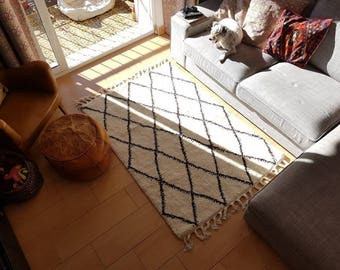 Custom Beni Ourain made to order, to your dimensions, Authentic Moroccan rug, fair-trade, made by a Women's Co-operative in Morocco