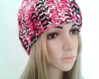 Beanie beret Cap Hat pink multicolor woman knitting handmade gift idea mother.