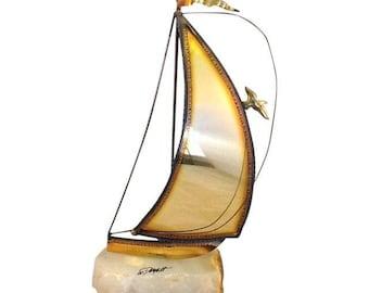 DeMott Brass Sailboat. Sailboat Sculpture