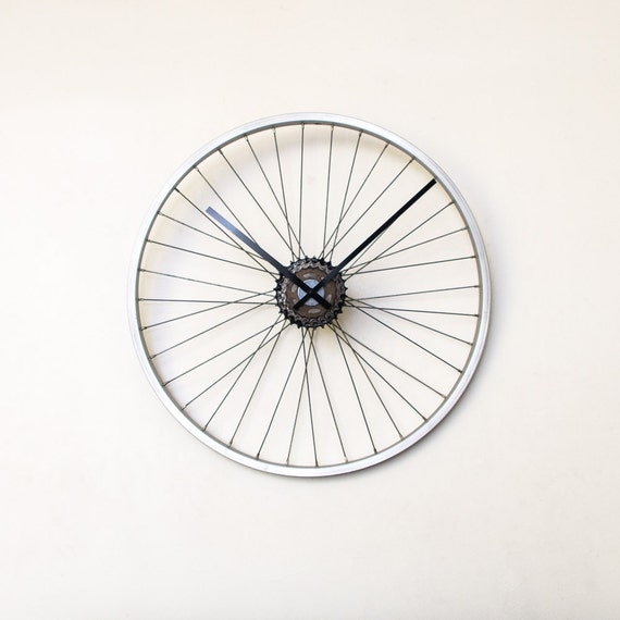 Bicycle Wheel Clock - Large Clock - Bicycle Clock - Unique Wall Clock  - Oversized Wall Clock - Industrial Wall Clock - Unique Gift