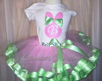 Easter bunny tutu; Springtime tutu, pink and green; pastel tutu set