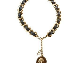 YVES SAINT LAURENT - belt women vintage chain/necklace - metal / leather
