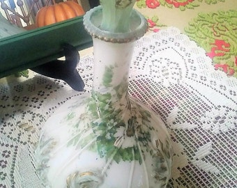 Victorian Milk Glass Cologne Perfume Bottle