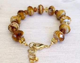 Amber Colors Glass Bead Bracelet Large Beaded Bracelet Brown Bracelet Brown Bead Bracelet Womens Jewelry Gift For Wife Her Mom Sister Friend