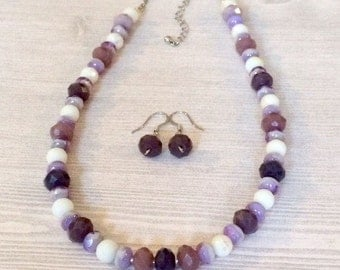 Purple Lilac Necklace Set Beaded Lavender Necklace Earrings Picasso Czech Glass Bead Necklace Set Soft Colors Jewelry Set Birthday Gift Her