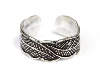 Sterling Silver Feather Adjustable Ring ,Ethnic Ring, Band Rings, Tribal Jewellery Gift Boxed + Gift Bag , Free UK Delivery 5R17