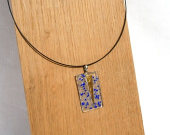 Necklace, glass fusing, transparent, blue and gold
