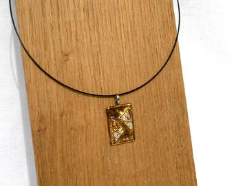 Necklace, glass fusing, Golden and white polka dots