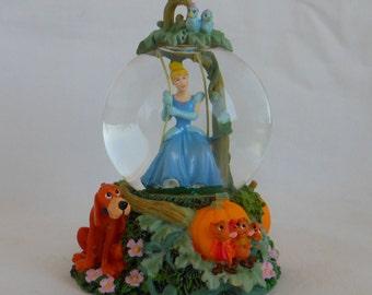 1990s Disney Cinderella on Swing Mini Water Globe Snow Globe Snowglobe, Cinderella Snow Globe