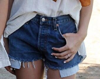 Levis 501s Denim Cut Off Shorts High waist Dark Wash sz 27 -28