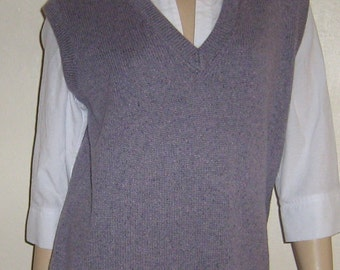 Ladies Lilac Hand Knitted Heather Mix 100% Scottish Lambswool Tank Top