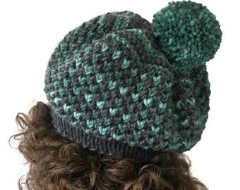 Hand Knit Hat Beret in Gray and Teal Green,Women's Beanie Hat with PomPom,Slouchy,Warm Winter Hat,Wool Chunky Hat,Boho Hat,READY TO SHIP