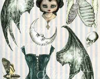 Gothic Halloween Collage Sheets