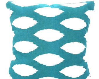 Turquoise Pillow Covers, Decorative Throw Pillows Cushion Covers True Turquoise White Ikat Chaz Aqua Euro Sham, Couch, One or More All Sizes