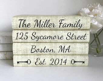Custom Family Books - Family Name Decorative Books - Family Personalized Books - Housewarming Gift - Wedding Gift - Custom Book Set - Name