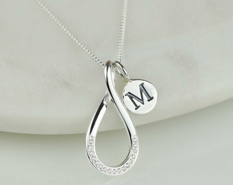 Solid Silver Infinity Necklace Personalised with a Solid Silver Stamped Initial Charm