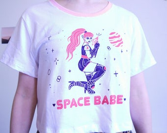 Space Babe Crop Top with Contrast Neckline, Alien Tee, UFO 100% Cotton Tee