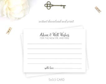 Printable Wedding Reception Advice Cards | Advice for Bride and Groom | Instant Download | 5x3.5 | DIY Printable/Digital File | r008