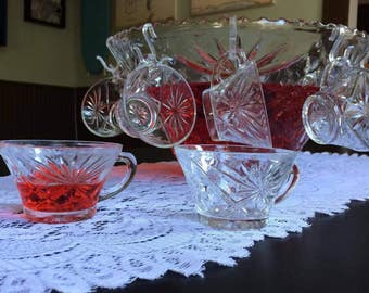 star-cut-glass punch bowl (large)