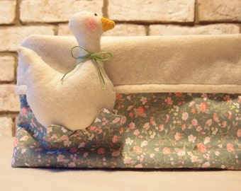 Diaper Basket Goose Diaper container-Basket for baby objects-Cestina of cloth-basket of diapers-baby room