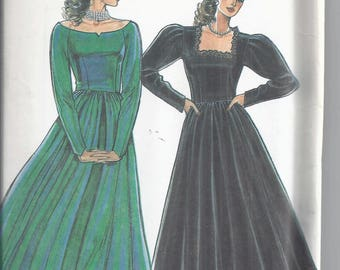 New Look Sewing pattern 6043 from 1990's. Womans Dress with Full Skirt, Long Sleeves.  Party Dress, Bust 31 1/2-40  UNCUT
