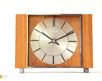 Mid century Danish Desk CLOCK - Studio 2000 Junghans Modern wood table Atomic Germany mcm shelf Mantel - 70s 60s