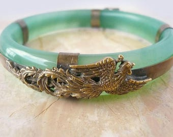 Translucent Green Jade Bangle with Dragon and Phoenix plated metal Overlay