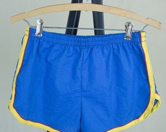 Vintage 70s Mens Blue Yellow and Red Swim Trunks Swimsuit Bathing Suit