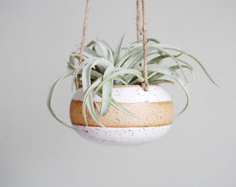 Made to Order | Band White hanging planter for airplants or succulents by Mud to Life