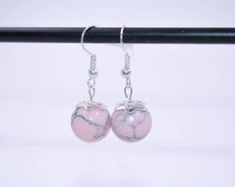 Bohemian Earrings // Pink Howlite Earrings // Womens Earrings // Pink Stone Earrings // Pink Bead Earrings // Dangle Earrings