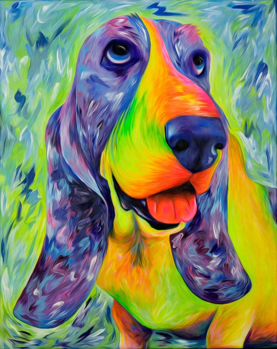 "Basset Hound Dog Art Print. Colorful Basset Artwork Gift. Giclee Print of my Basset Painting ""Daisy Mable"". Basset Hound Gift. Basset Art."