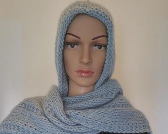 Hood scarf - wool - hand made - Made in Italy - Knitted